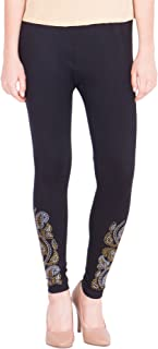 American-Elm Women's Cotton Viscose Net Legging- Black Silver