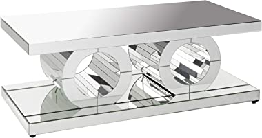 """Meridian Furniture Jocelyn Collection Modern Contemporary Mirrored Coffee Table Featuring a Bold Geometric Design, 48"""" W x 24"""