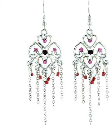 behave donne Fine orecchini pendenti fatto di Base metallica - color argento3-7,8cm dimensione