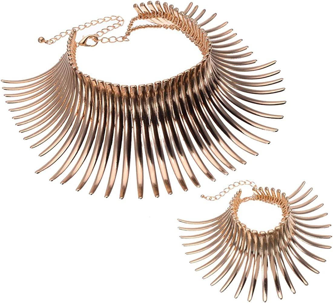 Statement Collar Choker Chuncky Bib Necklace(Set), African Sparkling Canine Shape Fringe Necklace(Set) for Women Fashion Jewelry(Set) for Girls