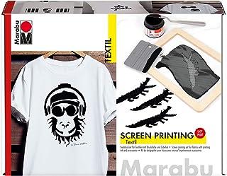 Marabu 1703000000082 - Set de serigrafía para Tejidos claros y Oscuros (100 ml de Color de impresión en Negro, Marco de Filtro, raspador y Cuchillo)