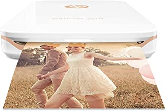 HP Sprocket Plus Instant Photo Printer, Print 30% Larger Photos on 2.3x3.4 Sticky-Backed Paper – White (2FR85A) (Renewed)