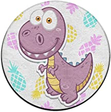 Round Area Rug Pink Dinosaur Comfy Non-Slip Runner Floor Rug Bath Door Mat Indoor Outdoor Mats Rug Pads