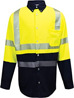 X-Large Fluorescent Yellow Inc. National Safety Apparel SHRTD3C3XLRG FR UltraSoft Hi Vis Class 3 Work Shirt