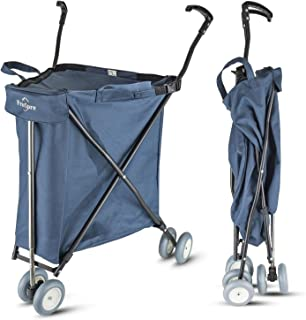 Freshore Grocery Shopping Cart with Wheels - Collapsible Push Folding Utility Wagon Trolley 丨 Laundry Trolley Carrier with Heavy Duty Flexible Fashion Design (Navy Blue)
