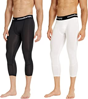 COOLOMG 2 Pack 3/4 Compression Pants Sports Tights 20+ Colors/Patterns Shorts Capri Pant Men's Boys Basketball Running