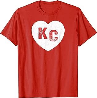 KC Heart Red Kc Vintage Kansas City Hearts Design T-Shirt