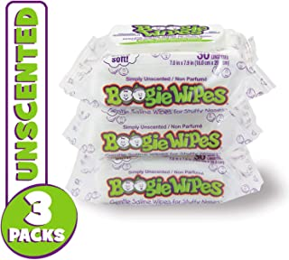 Boogie Wipes, Sensitive Unscented Wet Nose Wipes for Kids and Baby, Allergy Relief, Soft Natural Saline Hand and Face Saline Tissue with Aloe, Chamomile and Vitamin E, 30 Count (Pack of 3)