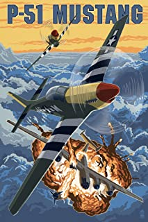 P-51 Mustang Mission with Bomber (12x18 Art Print, Wall Decor Travel Poster)