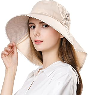 UV Protection Summer Sun Hat Women Packable Cotton Ponytail Chin Strap 55-59CM