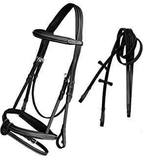 ExionPro Comfort Soft Lined Mono Crown Snaffle Bridle with U Shape Detachable Flash Snaffle Horse English Bridle & Rubber Reins.   English Horse Tack   English Bridles for Horses - Bridle and Reins