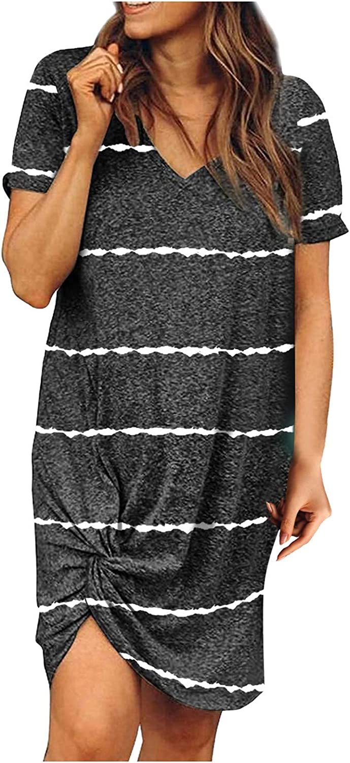 WYTong Women's Casual Sexy Summer Print T lowest price Stripe Fashion Max 72% OFF Dresses