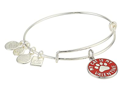 Alex and Ani My Cat Is My Valentine Bangle Bracelet (Shiny Silver) Bracelet