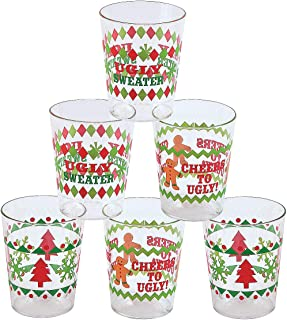 Fun Express - Ugly Sweater Shot Glasses (24pc) for Christmas - Party Supplies - Drinkware - Shot Glasses - Christmas - 24 Pieces