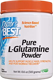 Doctor's Best Pure L-Glutamine Powder, Supports Muscle Mass, Strength & Post-Workout Recovery, Amino Acid, 300g
