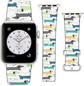 nobrand (Funny Painted Dachshund Dog) Patterned Leather Wristband Strap Compatible with Apple Watch Series 5/4/3/2/1 gen,Replacement for iWatch 42mm / 44mm Bands