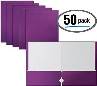 Two Pocket Portfolio Folders, 50-Pack, Purple, Letter Size Paper Folders, by Better Office Products, 50 Pieces, Purple