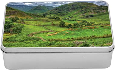 Lunarable English Countryside Metal Box, Illustration of Nature Outdoor with Valley and Mountains, Multi-Purpose Rectangular