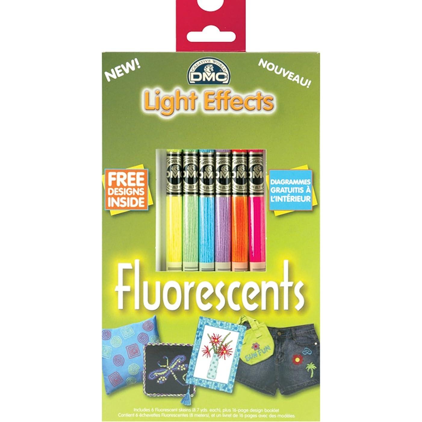 DMC 317WPK3 Light Effects Polyester Embroidery Floss, 8.7-Yard, Fluorescent