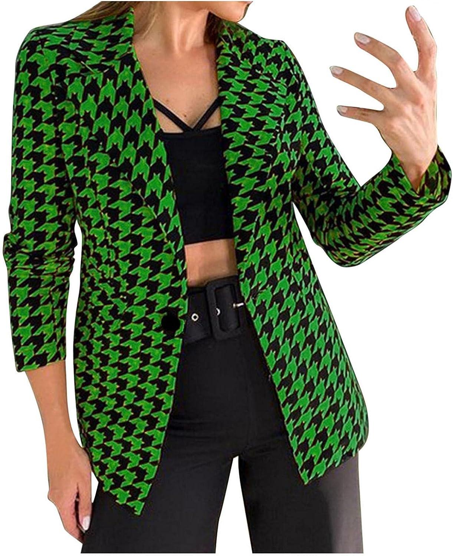 Women's Blazers Coat Fashion Plaid Open Front Cardigan Work Office Suit 3/4 Sleeve Long Sleeve Jacket Formal Coat
