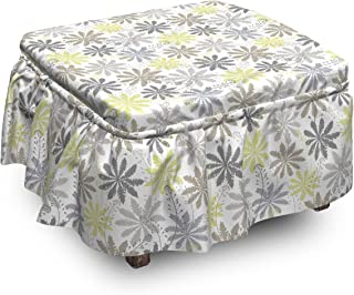 Sponsored Ad - Ambesonne Floral Ottoman Cover, Shepherd's Purse Pattern, 2 Piece Slipcover Set with Ruffle Skirt for Squar...