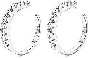 YADOCA 925 Sterling Silber CZ Pave Ohrmanschetten Kleine Creolen für Damen Zirkonia Huggie Non Piercing Ohrringe