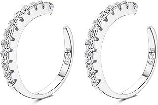 YADOCA 925 Sterling Silver CZ Pave Ear Cuffs Small Hoop Orecchini per Donna Cubic Zirconia Huggie Non Piercing Orecchini