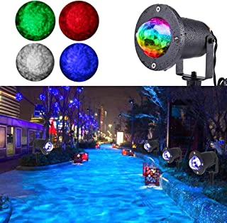 KOOT Water Wave Light Projector, 10 Multi Colors Halloween Christmas Outdoor Garden Light Water Effect or Flame Fire Effect Waterproof with Remote for Landscape Party Wedding Holiday