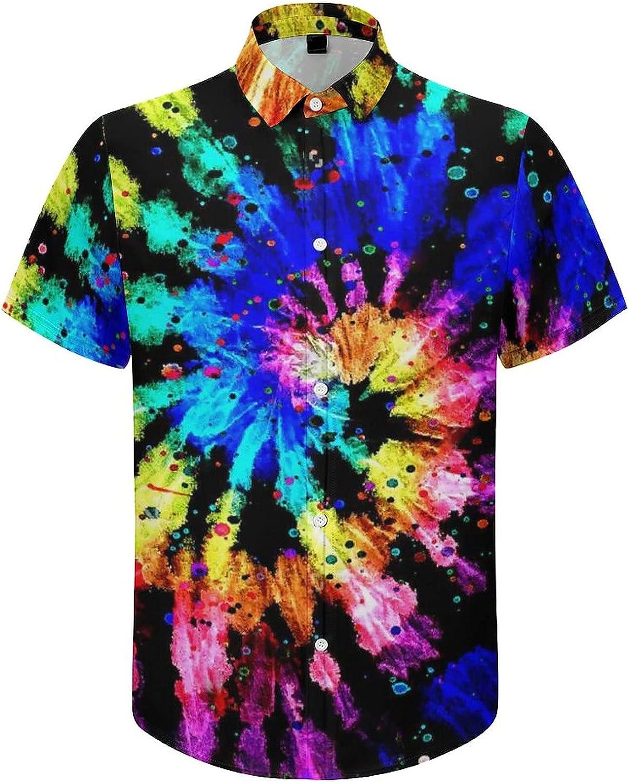 Mens Button Down Shirt Modern Rainbow Ti-e Dy-e Casual Summer Beach Shirts Tops