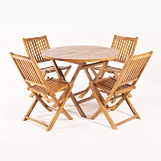 Edenjardi Conjunto para Exterior de Teca, Mesa Redonda 100 cm y 4 sillas Plegables, Madera Teca Grado A, Tratamiento al Agua aplicado