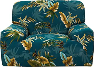 uxcell Printed Sofa Cover Couch Covers Polyester Spandex Fabric 1-Piece Stylish Sofa Slipcover Fitted Furniture Protector with One Free Cushion Case Dark Green Yellow Chair 1seater