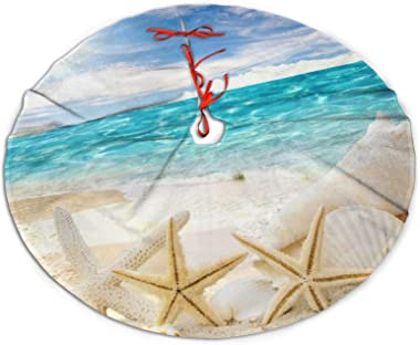 "ADELBERT HENDEICKSO Beach Sand Shells White Starfish Novelty Christmas Tree Skirt 35.5"" Xmas Year Plush Tree Skirt Christ"