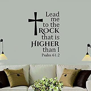 Vinyl Wall Decals Home Decor - Written Quotes Sayings Words Deco Lettering Lead Me to The Rock That is Higher Than I Christian Religious Psalm - Home Art Vinyl Decor BR9487