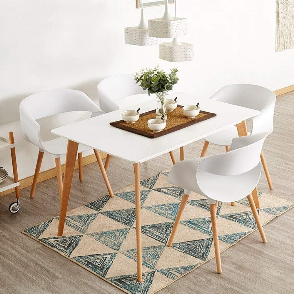 WHOJA Chaises de Cuisine Dossier creux Fauteuil de salon Pour le salon de bureau Fauteuil Pieds en bois massif naturel Portant le poids 120kg Chaises d'angle (Color : Blue) White