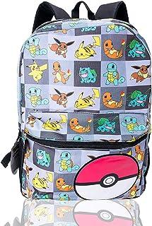 Pokemon - Mochila para niños, niñas, adolescentes con Pikachu, Litten, Rowlet y Popplio Pokemons Trainer School Bag Pokemon Characters Mochila para niños