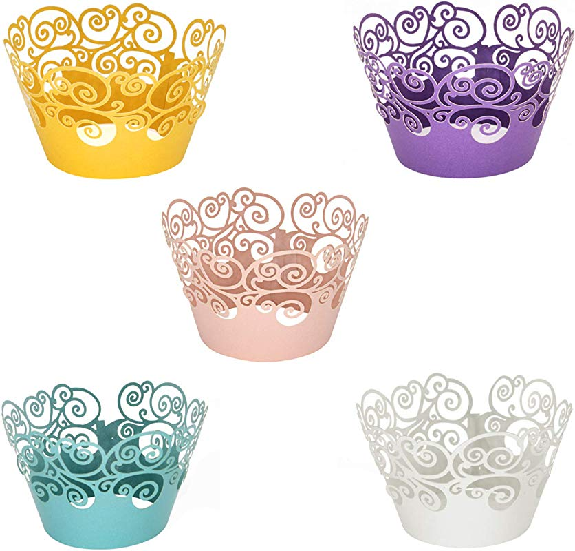 Cupcake Wrappers KEIVA 100 Pack Cupcake Wraps In 5 Colors Filigree Artistic Bake Cake Paper Cup Little Vine Laser Cut Liner Baking Cups Holder For Wedding Party Birthday Decoration Style 2