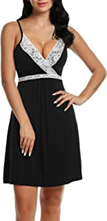 Hotouch Sleepwear Womens Chemise Nightgown Full Slips Lace Sling Dress Sexy Lingerie S-XXL