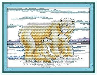 CaptainCrafts Hots Cross Stitch Kits Patterns Embroidery Kit - Polar Bear Maternal Love (WHITE)