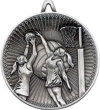 Lapal Dimension Netball Deluxe Medal - Antiek Zilver 2.35in