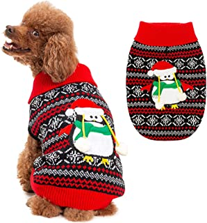 BINGPET Ugly Dog Christmas Sweater Classic Xmas Turtleneck Knitwear Sweater with Penguin Pattern, Pet Holiday Sweater Coat Winter Warm Cloth