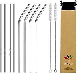 EINFAGOOD Pajitas de acero inoxidable, pajitas de metal reutilizables, pajitas para beber 8 piezas con 2 cepillos de limpieza