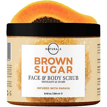O Naturals Exfoliating Boost Brightening Skin Papaya Sugar Natural Scrub Face Body & Foot Anti Cellulite Remove Dark Spot Age Spot Acne Stretch Mark Moisturizing Hydrating Men-Women 8.4oz