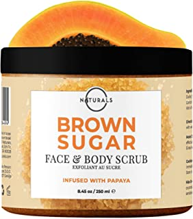 O Naturals Exfoliating Brown Sugar & Papaya Gentle Scrub for Face, Lips & Body. Hydrating Anti-Cellulite Treats, Acne Ingrown Hairs Razor Burn Scars Stretch Marks & Varicose Veins. Moisturizing 8.45oz