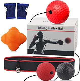 Reflex Ball with Reaction Bounce Ball, Reaction Training Set, 3 Difficulty Level Boxing Ball with Headband, Boxing Gloves,...