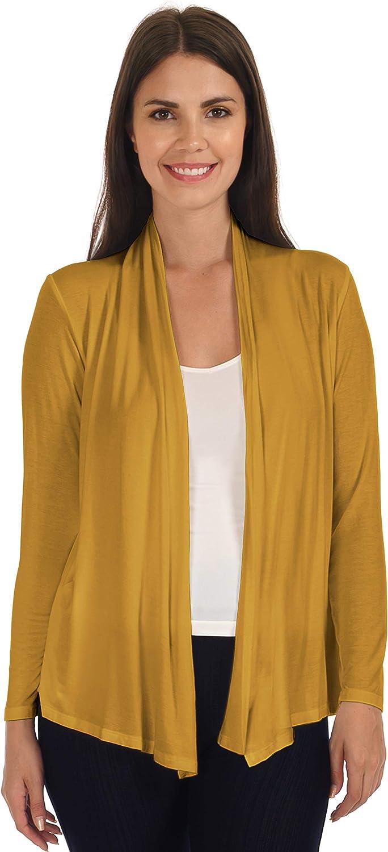 DFF Shop Women's Lightweight Open Drape Long Sleeve Cardigan (Size: S - 5X)
