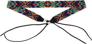 Mayan Arts カウガール ウェスタンビーズハットバンド レザータイ メンズ レディース ハンドメイド グアテマラ7/8インチ×21インチ パープル