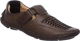 Fashionvila Dark Brown Loafer Sandals for Men