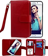 Galaxy S6 Edge Plus Case, Crosspace Flip Wallet Case Premium PU Leather 2-in-1 Protective Magnetic Shell with Credit Card Holder/Slots and Wrist Lanyard for Samsung Galaxy S6 Edge + (Red)