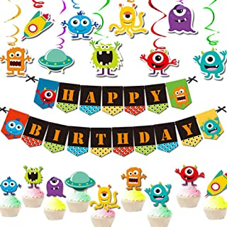Monster Bash Birthday Decoration Pack for Kids-Happy Birthday Banner Swirls Cupcake Toppers-Birthday Party Supplies for Kids Boys Girls