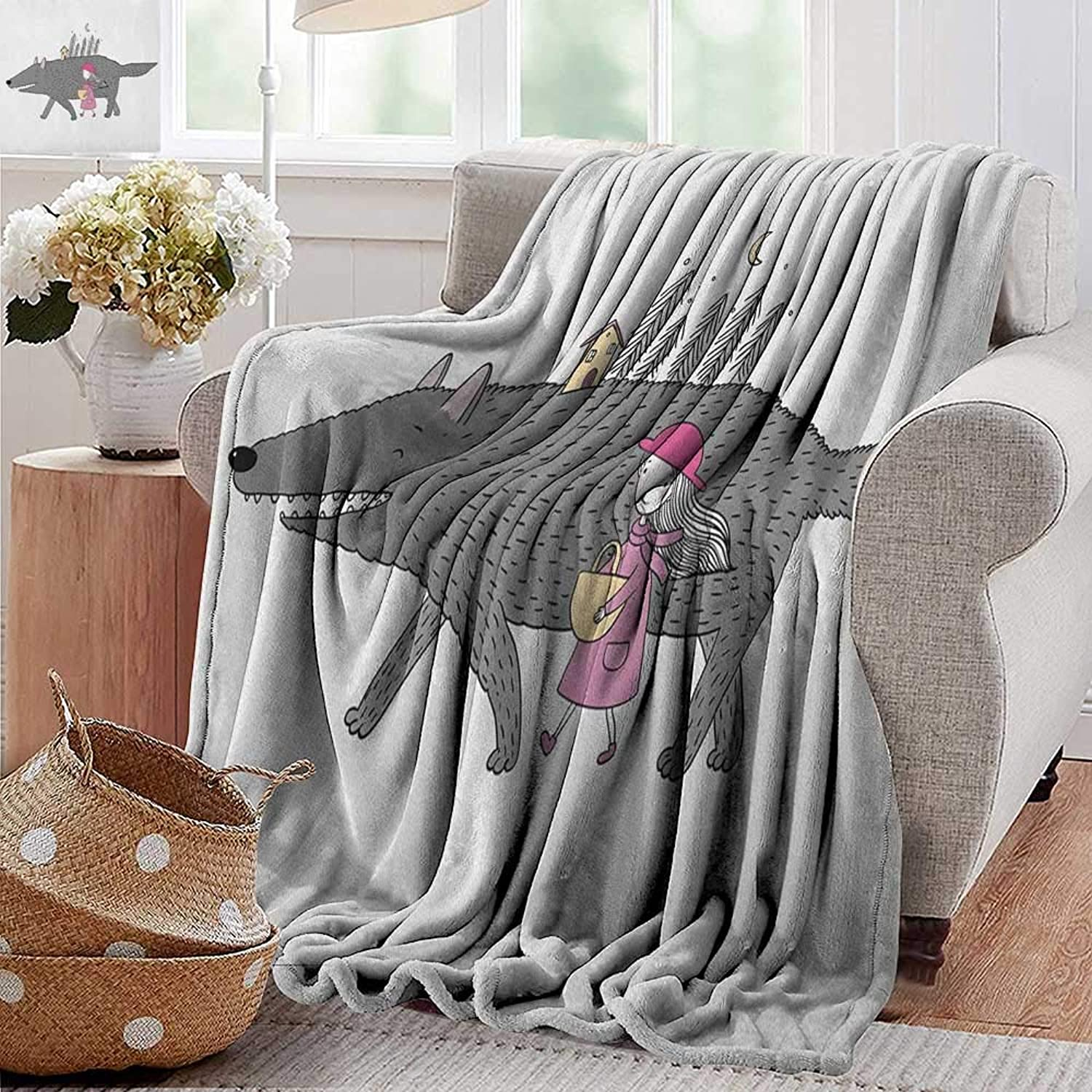 XavieraDoherty Bed Blanket,Fantasy,Girl in a Pink Dress Walking with a Giant Wolf Fir Forest and a Small House, Pink Grey Peach,for Bed & Couch Sofa Easy Care 35 x60